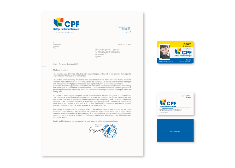CPF Letterhead, Business Card, Student ID